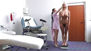 Fat titted gradual overprotect and her sissified gynecologist