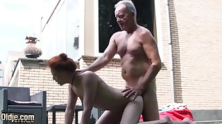 Teen nympho fucked hardcore in old and young porn video by grandpa with big dick