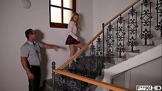 Schoolgirl Lucy Heart rides teacher's & principal's cocks in XXX threesome