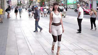 Abbreviated catsuit. Camel-toe in yield b set forth