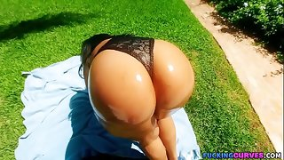 Awning Ebony Fucked By The Pool