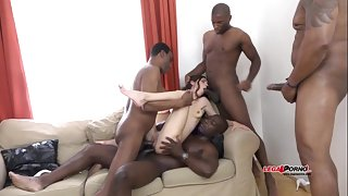 Mega interracial Gangbang - Arwen Flaxen versus 4 huge dismal cocks