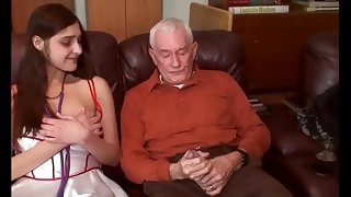 young brunette arch grow older coming out with respect to grandpa